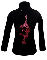"Black ice Skating Jacket with Pink Crystals ""Layback"" rhinestone applique 2nd view"