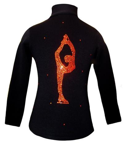 Figure Skating Jacket by Ice Fire - Orange Crystals Biellmann applique