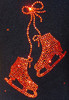 "Black ice Skating Jacket with Orange  ""Pair of skates"" rhinestone applique 2nd view"