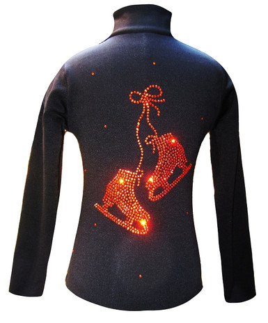 "Black ice Skating Jacket with Orange  ""Pair of skates"" rhinestone applique"