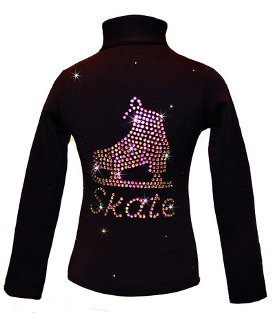 "Black ice Skating Jacket with Vitrail ""Skate"" rhinestone applique"