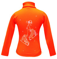 "Orange ice Skating Jacket with  ""Pair of skates"" rhinestone applique"