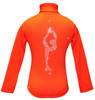 "Orange ice Skating Jacket with  ""Biellmann"" rhinestone applique"