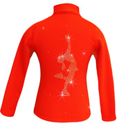 "Orange ice Skating Jacket with  ""Layback"" rhinestone applique"