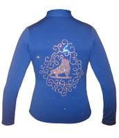 "Blue jacket with ""Skate & ornament"" Applique"
