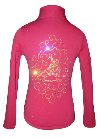 "Pink Ice Skating Jacket with ""Skate with Ornament"" applique"