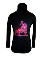 """Black Jacket with """"Pink Skate"""" applique"""