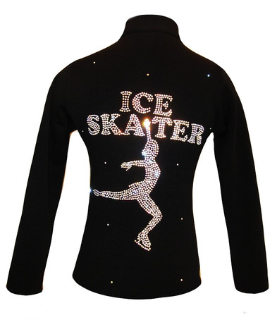 Ice Skating Jacket with AB Crystals Ice Skater Design 2nd view