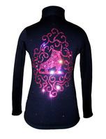"Black Skating Jacket with Pink crystals ""Skate & Ornament""  applique"