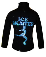 Ice Skating Jacket with Aqua Crystals Ice Skater Design 2nd view