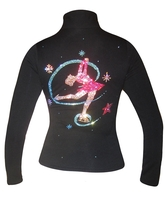 "Black Ice Skating Jacket with ""Colorful Layback Design "" applique"