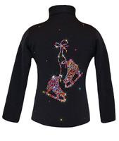 "Black ice Skating Jacket with Rainbow Mix ""Pair of skates"" rhinestones design"