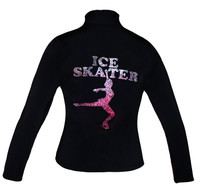 "Closeout Poly/Spandex Ice skating jacket with Pink Ombre ""Ice Skater"" Metallic Studs Design"