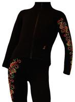 "Ice Skating Jacket with ""Neon Swirls"" rhinestuds design"