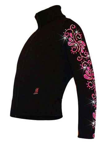 "Ice Skating Jacket with ""Pink Neon Swirls"" Rhinestuds Design"