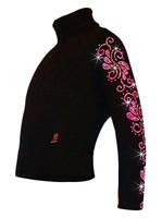 "Ice Skating Jacket with ""Pink Neon Swirls"" Rhinestuds Design"