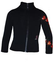 "Ice Skating Jacket with  ""Orange Spiral Hearts"" Rhinestones Design"