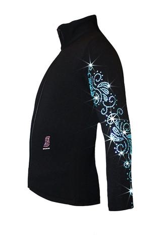 "Ice Skating Jacket with  ""Aqua Swirls"" Rhinestones Design"