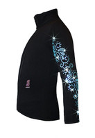"Ice Skating Jacket with  ""Aqua Swirls"" Rhinestones Design"