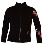 """Ice Skating Jacket with  """"Pink Spiral Hearts"""" Rhinestuds Design"""