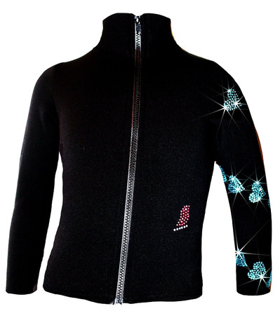 "Ice Skating Jacket with  ""Aqua Spiral Hearts"" Rhinestones Design"