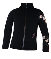 "Ice Skating Jacket with  ""Spiral Hearts"" Rhinestones Design"