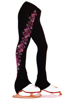 "Ice Skating Pants with ""Pink Neon Swirls"" rhinestuds design"