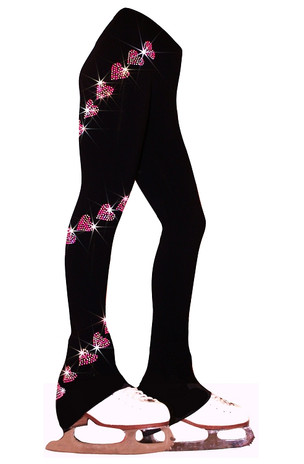 "Ice Skating Pants with  ""Pink Spiral Hearts"" Rhinestuds Design"
