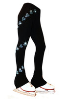 "Ice Skating Pants with  ""Aqua Spiral Hearts"" Rhinestones Design"