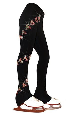 "Ice Skating Pants with  ""Neon Spiral Skates""  Design"