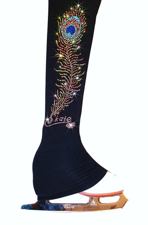 """Ice Skating Pants with """"Charming Peacock Feather"""" Rhinestone Design"""