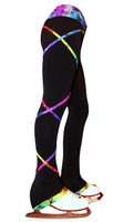 Criss Cross Poly Spandex Rainbow Ice Skating Pants XP120