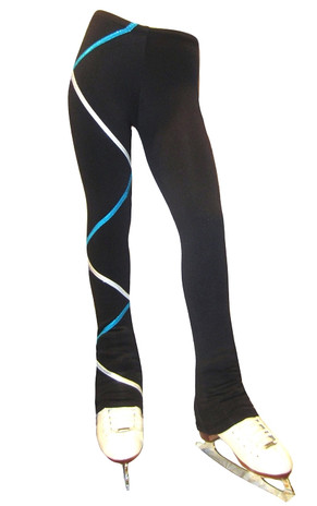 Criss Cross Fleece Ice Skating Pants Silver/Turquoise XP211