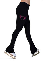 ChloeNoel P22X All Black 3Inch Waist Band Skate Figure Skating Pants with crystal design - Love Skate (Pink)