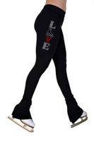 ChloeNoel P22X All Black 3Inch Waist Band Skate Figure Skating Pants with crystal design - Love