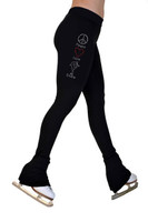 ChloeNoel P22X All Black 3Inch Waist Band Skate Figure Skating Pants with crystal design - Peace Love Skate