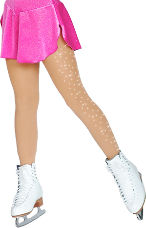 ChloeNoel Footed Ice Skating Tights 3330 Medium Tan - with 2Crystals