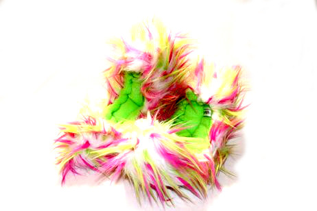 Crazy Fur Soakers CF14 - Hot Pink, Lime and White Crazy Fur