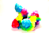 Crazy Fur Soakers CF30 - Turquoise Fuzzy Fur with Rainbow Crazy Fur