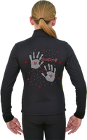 ChloeNoel J11 Solid Polar Fleece Fitted Figure Skating Jacket w/ Hand Prints Crystals