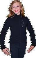 ChloeNoel J11 Solid Polar Fleece Fitted Figure Skating Jacket w/ Mini Jump Skater Crystals