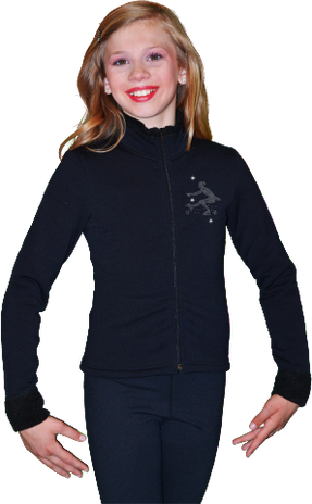 ChloeNoel J11 Solid Polar Fleece Fitted Figure Skating Jacket w/ Mini Sit Spin Crystals