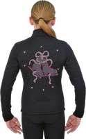ChloeNoel J11 Solid Polar Fleece Fitted Figure Skating Jacket w/ Skate/Ribbon Pink Crystals