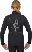 ChloeNoel J11 Solid Polar Fleece Fitted Figure Skating Jacket w/ Spinning Skater Crystals