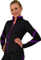 ChloeNoel J76 Heavy Poly Spandex Pipings Swirl Figure Skating Jacket