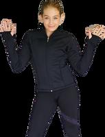 ChloeNoel JT92 Raglan Sleeves Fitted Figure Skating Jacket with Pockets & Thumb Holes