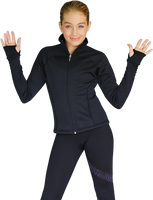 ChloeNoel JT92 Raglan Sleeves Fitted Figure Skating Jacket with Pockets & Thumb Holes