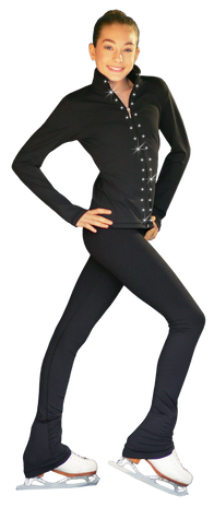 ChloeNoel PS735 Solid Over-the-hill Skate Elite Figure Skating Pants with Front Pocket  and Swarovski Crystal Block