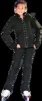 """ChloeNoel PS792 3"""" Waist Band Black/Color Cuffs  Elite Figure Skating Pants & Front Pocket & Swarovski Crystal Block"""