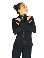 ChloeNoel JS735 Solid Color Elite Figure Skating Jacket w/ Thumb Holes w/ Thumb Holes and Swarovski Crystal Design
